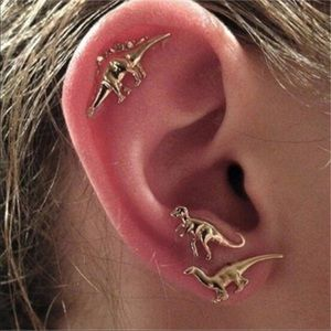 Jewelry - Brand New 3 Pair Set Dinosaur Stud Earrings Gold